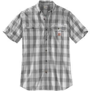 カーハート Carhartt メンズ 半袖シャツ トップス plaid force ridgefield short sleeve button down shirt Asphalt|fermart2-store