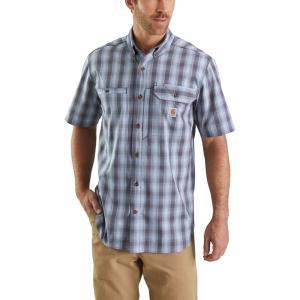 カーハート Carhartt メンズ 半袖シャツ トップス plaid force ridgefield short sleeve button down shirt Steel Blue|fermart2-store