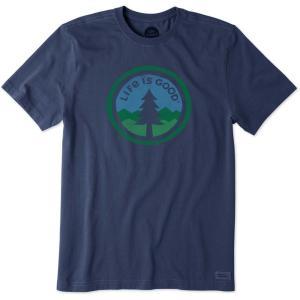 ライフイズグッド Life is good メンズ Tシャツ トップス Life is Good Tree Coin Crusher T-Shirt Darkest Blue|fermart2-store