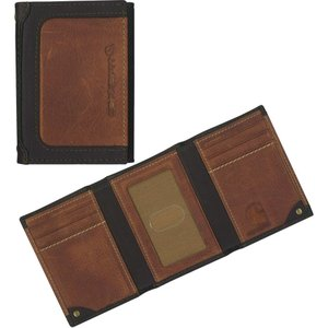 カーハート メンズ アクセサリー 財布 Carhartt Black & Tan Trifold Wallet|fermart2-store
