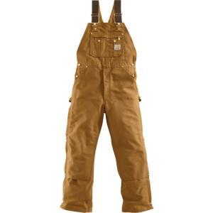 カーハート Carhartt メンズ オーバーオール ボトムス・パンツ unlined zip-to-thigh duck bibs Carhartt Brown fermart2-store