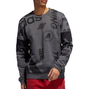 アディダス adidas メンズ スウェット・トレーナー トップス Post Game Allover Print Crewneck Sweatshirt Grey Six/Grey Two|fermart2-store