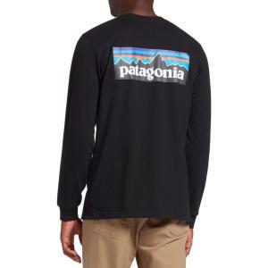 パタゴニア Patagonia メンズ 長袖Tシャツ トップス P-6 Logo Responsibili-Tee Long Sleeve Shirt Black|fermart2-store