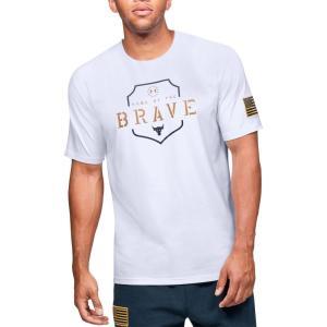 アンダーアーマー Under Armour メンズ Tシャツ トップス Project Rock Home Of The Brave Graphic T-Shirt (Regular and Big & Tall) White/Gold Rush|fermart2-store