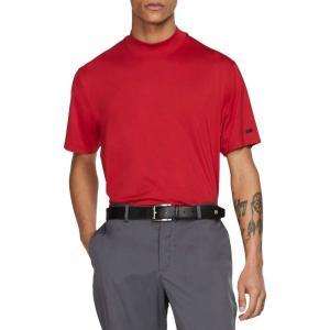 ナイキ Nike メンズ ゴルフ ポロシャツ トップス Tiger Woods Red Mock Neck Golf Polo Gym Red|fermart2-store