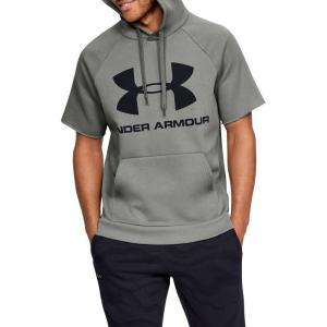 アンダーアーマー Under Armour メンズ パーカー トップス Rival Fleece Logo Short Sleeve Hoodie (Regular and Big & Tall) Gravity Green/Black|fermart2-store