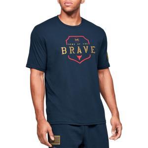 アンダーアーマー Under Armour メンズ Tシャツ トップス Project Rock Home Of The Brave Graphic T-Shirt (Regular and Big & Tall) Academy/Gold Rush|fermart2-store