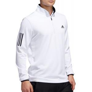 アディダス adidas メンズ ゴルフ トップス Midweight 1/2 Zip 3-Stripe Golf Pullover White/Black fermart2-store