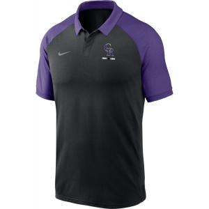 ナイキ Nike メンズ ポロシャツ ドライフィット ラグラン トップス Colorado Rockies Black Dri-FIT Legacy Raglan Polo|fermart2-store
