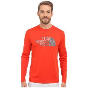 ザ ノースフェイス メンズ ラッシュガード 水着・ビーチウェア Long Sleeve Sink or Swim Rashguard Fiery Red/Asphalt Grey Moss Print (Prior Season)|fermart2-store