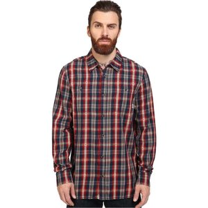 ヴァンズ メンズ シャツ トップス Canehill Long Sleeve Flannel Red Dahlia/Dress Blues|fermart2-store