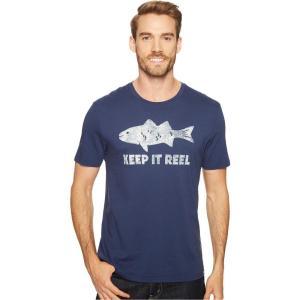ライフイズグッド メンズ Tシャツ トップス Reel Fish Smooth Tee Darkest Blue|fermart2-store