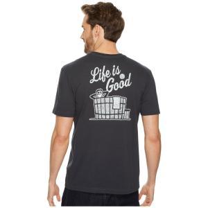 ライフイズグッド Life is Good メンズ Tシャツ トップス Hot Tub Pocket Crusher Tee Night Black|fermart2-store