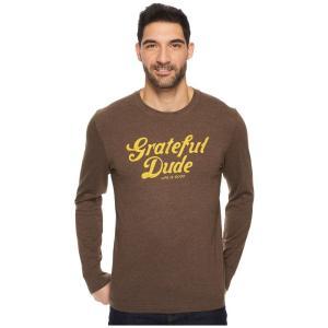 ライフイズグッド Life is Good メンズ 長袖Tシャツ トップス Grateful Dude Thanks Long Sleeve Crusher Tee Heather Rich Brown|fermart2-store