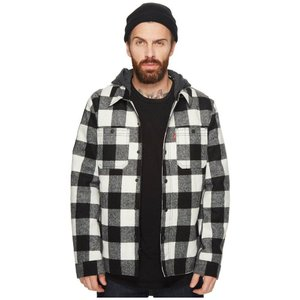 リーバイス Levi's メンズ ジャケット アウター Wool Blend Trucker with Jersey Hood and Soft Sherpa Lining White Buffalo Plaid|fermart2-store
