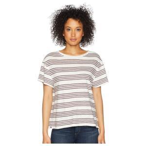 ペンドルトン Pendleton レディース Tシャツ トップス Soft Stripe Cotton Tee Marshmallow/Winetasting|fermart2-store