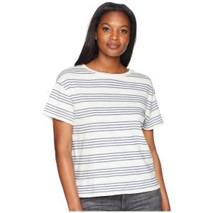 ペンドルトン Pendleton レディース Tシャツ トップス Soft Stripe Cotton Tee Marshmallow/Vintage Indigo|fermart2-store