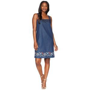 ペンドルトン Pendleton レディース ワンピース ワンピース・ドレス Tala Embroidered Cotton Apron Dress Dark Wash Multi Border|fermart2-store