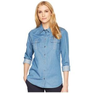 ペンドルトン Pendleton レディース ブラウス・シャツ トップス Embroidered Cotton Chambray Shirt Medium Wash|fermart2-store