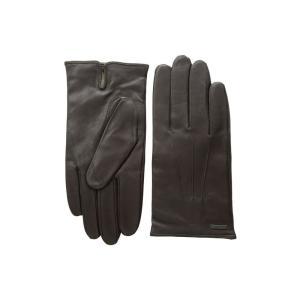 ヒューゴ ボス BOSS Hugo Boss メンズ 手袋・グローブ Hainz Leather Gloves Dark Brown|fermart2-store