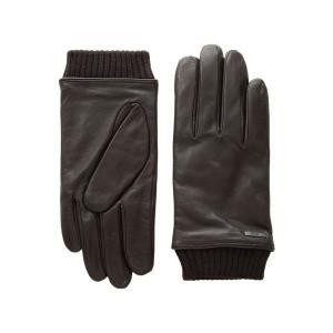 ヒューゴ ボス BOSS Hugo Boss メンズ 手袋・グローブ Hewen Touch Tech Leather Gloves Dark Brown|fermart2-store