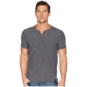 ラッキーブランド Lucky Brand メンズ Tシャツ トップス Textured Stripe Notch Neck Shirt Night Sky|fermart2-store
