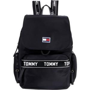 トミー ヒルフィガー Tommy Hilfiger レディース バックパック・リュック バッグ Allie Flap Backpack - Taping Smooth Nylon Black|fermart2-store