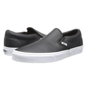 ヴァンズ メンズ スリッポン・フラット シューズ・靴 Classic Slip-On' Core Classics (Perf Leather) Black|fermart2-store