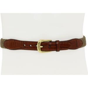 ブライトン メンズ ベルト Elastic Cord Croco Tab Taper Belt Khaki|fermart2-store
