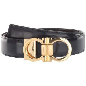 サルヴァトーレ フェラガモ Salvatore Ferragamo メンズ ベルト Double Gancio Buckle Adjustable/Reversible Belt (678648) Blue/Black fermart2-store