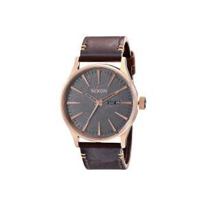 ニクソン レディース 腕時計 Sentry Leather Rose Gold/Gunmetal/Brown|fermart2-store