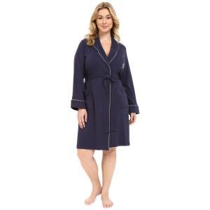 ラルフ ローレン レディース ガウン・バスローブ インナー・下着 Plus Size Essentials Quilted Collar and Cuff Robe Navy|fermart2-store