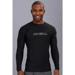 オニール メンズ ラッシュガード 水着・ビーチウェア Basic Skins L/S Crew Black|fermart2-store
