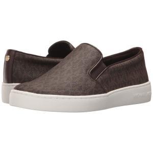 マイケル コース レディース スリッポン・フラット シューズ・靴 Keaton Slip-On Brown Mini MK Logo Coated Canvas/Suprema Nappa Sport|fermart2-store