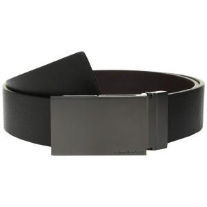 カルバンクライン Calvin Klein メンズ ベルト 38MM Reversible Flat Strap Smooth/Leather w/ Embossed Lines Black/Brown|fermart2-store