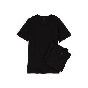 ジョッキー メンズ Tシャツ トップス Cotton V-Neck T-Shirt 3-Pack Black|fermart2-store