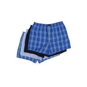 ジョッキー Jockey メンズ ボクサーパンツ 4点セット インナー・下着 active blend woven boxer 4-pack Blue Plaid/Best Navy/Blue Stripe/Blue Plaid|fermart2-store