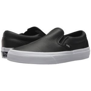 ヴァンズ レディース スリッポン・フラット シューズ・靴 Classic Slip-On DX (Tumble Leather) Black/True White|fermart2-store