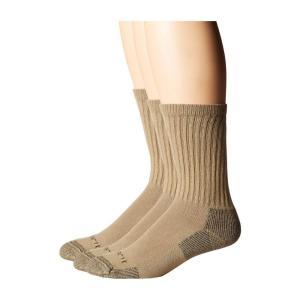 カーハート Carhartt メンズ ソックス インナー・下着 Cotton Crew Work Socks 3-Pack Khaki|fermart2-store