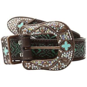 エムアンドエフ ウエスタン M&F Western レディース ベルト Diamond Turquoise Embossed Brown|fermart2-store