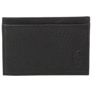 ラルフ ローレン メンズ カードケース・名刺入れ Pebble Leather Slim Card Case Black|fermart2-store