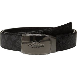 コーチ メンズ ベルト Stictched Plaque Signature Reversible Belt Charcoal/Black|fermart2-store