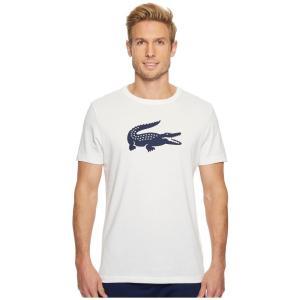 ラコステ メンズ Tシャツ トップス Sport Oversize Croc Tech Jersey Tennis T-Shirt White/Navy Blue|fermart2-store