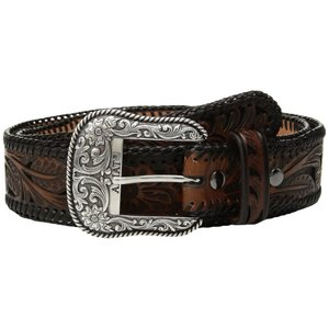 アリアト メンズ ベルト Tapered Floral Pierced Belt Black/Brown|fermart2-store