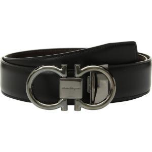 サルヴァトーレ フェラガモ Salvatore Ferragamo メンズ ベルト Adjustable/Reversible Double Gancini Dress Belt Nero/Hickory fermart2-store