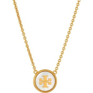 トリー バーチ レディース ネックレス ジュエリー・アクセサリー Semi-Precious Pendant Necklace Mother-of-Pearl/Vintage Gold|fermart2-store