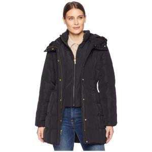 コールハーン Cole Haan レディース ダウン・中綿ジャケット アウター Down Coat with Bib Front and Dramatic Hood Black|fermart2-store