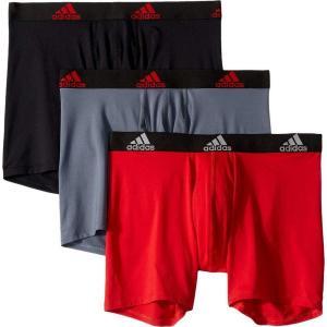 アディダス adidas メンズ ボクサーパンツ 3点セット インナー・下着 Climalite Boxer Brief 3-Pack Scarlet/Black/Black/Black Onix/Black|fermart2-store