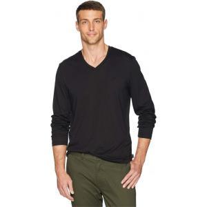 カルバンクライン Calvin Klein メンズ 長袖Tシャツ トップス Long Sleeve Jersey V-Neck T-Shirt Black|fermart2-store