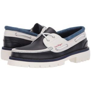 サルヴァトーレ フェラガモ Salvatore Ferragamo メンズ デッキシューズ シューズ・靴 Ambler Boat Shoe Dark Blue/Off-White fermart2-store